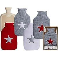 Preisvergleich für Wärmflasche mit Stern ca. 32x20cm ca. 2 Liter, versch. Farben wählbar (weiß m. grauem Stern)