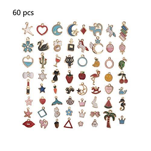 60 Stück gemischte vergoldete Emaille-Charms, Legierung, süße Cartoon-Mond- und Sternen-Frucht- und Flamingo-Anhänger, DIY Schmuck herstellen und Basteln für Ohrringe, Halsketten, Armband