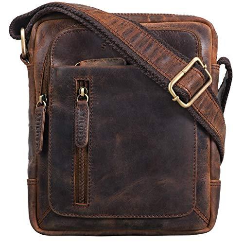 STILORD \'Jamie\' Herren Ledertasche Umhängetasche klein Vintage Messenger Bag Herrenhandtasche für 9.7 Zoll iPad Moderne Leder Schultertasche für Männer, Farbe:Zamora - braun
