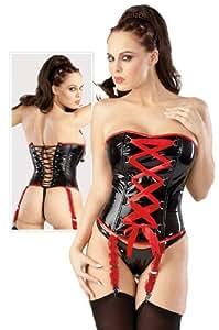 Black Level - Lingerie Femme Sexy - Guepiere en vinyl noir avec lacage rouge - Taille XL