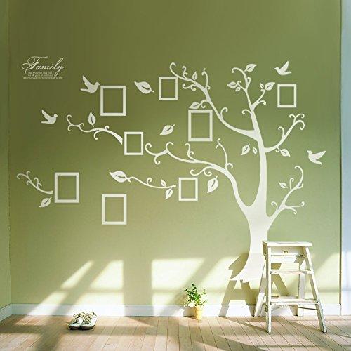 Single PVC Riesig Schwarz Bilderrahmen Speicher Baum Vine Zweig Abnehmbare Wandtattoo Stickers (links, Weiß)