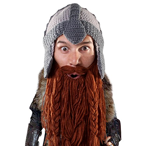 Beard Head Bartmütze - Zwerg-Krieger Bartmütze - Helmmütze und falscher Bart (Zwerg Krieger Kostüm)
