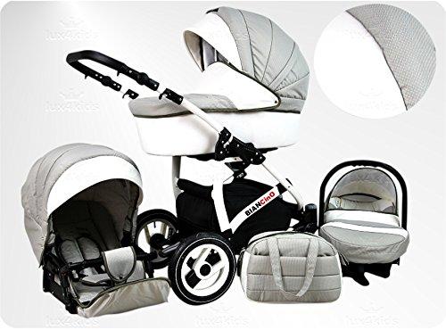 Lux4Kids BIANCinO Kinderwagen Komplettset (Autositz & Adapter, Regenschutz, Moskitonetz, Schwenkräder) 07 Eco Leather White & Latte