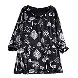 TianWlio Femmes Top Chemisier Grande Taille, Haut Manches Longues Print Chemisier Femme imprimé Manche Moyen T-Shirt Plus Size Tops Floral Blouse