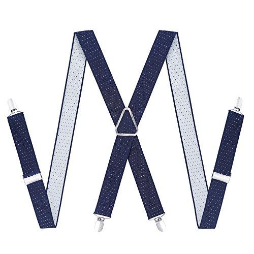 Kajeer Hosenträger für Herren Breit 35 mm - 4 Clips mit Leder in X Form Längenverstellbar und Elastisch Hosenträger (Navy Blue Polka Dot) - Polka Dot Hosenträger