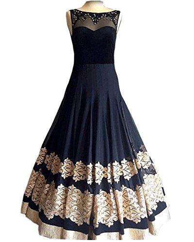 Royal Export Women's Georgette Anarkali Party Wear Gown (Black)