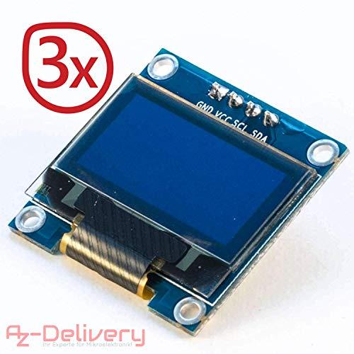 AZDelivery ⭐⭐⭐⭐⭐ 3 x 128 x 64 Pixel 0,96 Zoll OLED I2C Display für Arduino und Raspberry Pi mit gratis eBook!