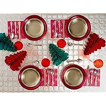 [Pack ahorro] Kit de vajilla desechable elegante con decoración de mesa para navidad ideal