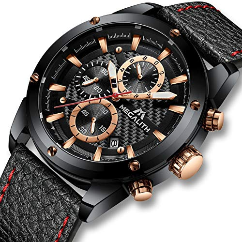 Herren Uhren Männer Militär Chronographen Wasserdicht Sport Groß Leder Armbanduhr Mann Datum Leuchtende Business Mode Analog Uhr