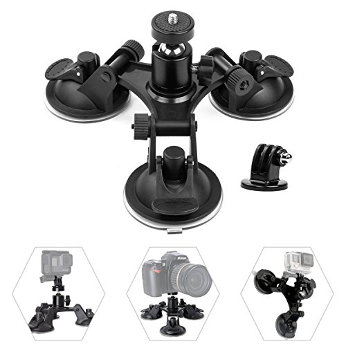 Geila Triple Suction Cup Mount Camera Suction Mount Car Mount Holder Window Mount with 1/4 Threaded Head 360 Degree Tripod Ball Head