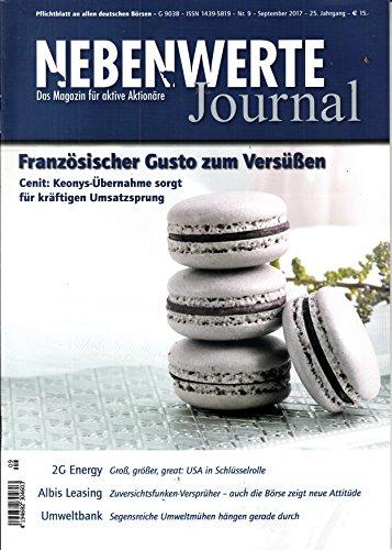 Nebenwerte Journal 9 2017 Cenit Keonys 2G Energy Albis Leasing Umweltbank Zeitschrift Magazin Einzelheft Heft Aktien Aktionäre