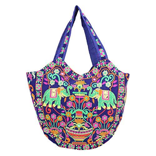 Suman Handicraft Handtasche für Damen, indisch, Ethno-Stil, Vintage-Stil, handgefertigt, Baumwolle, Blau (blau), Large