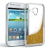 EAZY CASE GmbH Hülle für Samsung Galaxy S3 Mini Schutzhülle mit Flüssig-Glitzer, Handyhülle, Schutzhülle, Back Cover mit Glitter Flüssigkeit, aus TPU/Silikon, Transparent/Durchsichtig, Gold