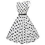 KIMODO Damen Kleid ärmellos Herbst Retro Abendkleid Partykleid Kleider (B-Weiß, S)