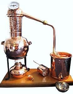 """Destille 0,5 Liter Modell """"Kalif"""" mit Aromakorb, Thermometer und Spiritusbrenner (aktuelles Modell; Premiumedition mit Spiritusbrenner, Aromakorb und zusätzlichem Destillatauffangbecher). Ideal für die Herstellung von Schnäpsen, Geisten und ätherischen Ölen (Hydrolate)."""