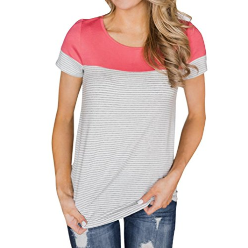 MRULIC Frauen Kurzarm Dreifach Farbe Block Streifen T-Shirt Casual Bluse Damen Shirt Weisse Bluse (EU-36/CN-S, Z-Pink) (Gestreiftes Rollkragen-shirt)
