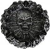Cenicero Skull pyre de inyectado con brennendem tronco Cúmulos de skeletten y calaveras, llamas huesos-Cenicero de taller resistente 12cm diámetro exterior