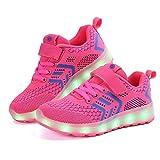 Jungen-Mädchen-Schuh-Tulle-Frühlings-Fall Leuchten Schuhe Komfort-Athletische Schuhe LED für athletisches Rosa, Blau, Dunkelblau, Schwarz (Color : A, Größe : 33)
