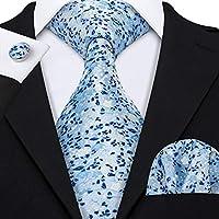 Necktie and Pocket Square Cufflinks Tie Set Woven Silk Ties for Men Wedding