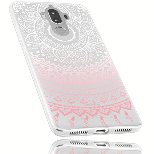 mumbi UltraSlim Hülle für Huawei Mate 9 Schutzhülle transparent rosa im Mandala Design (Ultra Slim - 0.70 mm)