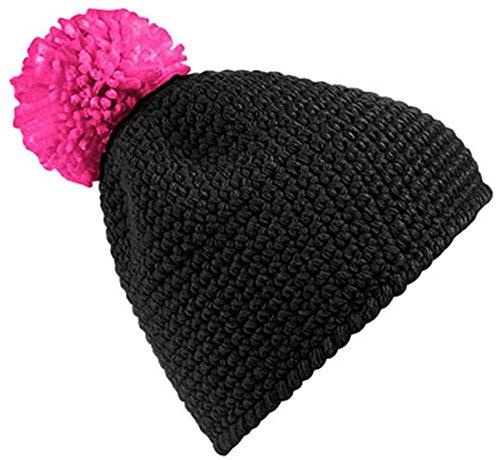 Beechfield Casquette Contraste d'hiver Pom Pom chaud enfant bonnet casquette conviviale gaufré - Black Fushia