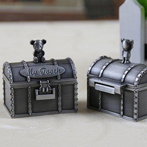 Baby Zähne Keepsake Box, Luxus-Stil Metall Erste Zähne Lanugo Haar Souvenir-Container Für Baby-Junge Oder Mädchen, 4 * 4.5 * 5Cm, 2 Stück