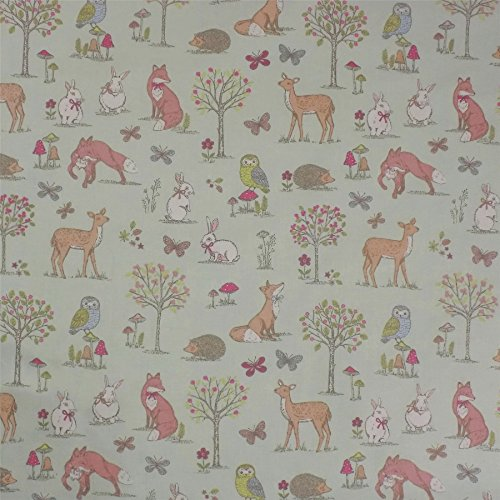 animals-of-the-forest-duck-egg-100-cotton-high-quality-fabric-material-sold-by-the-half-metre