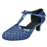 Conquro Mujer Zapatos de Baile Mujer Latín Resplandecer Zapatos de Baile La Salsa Tango T-Correa Cerrado Salón de Baile Boda Noche Zapatos estándar de Zapatos de Baile Latino Ballroom Modelo