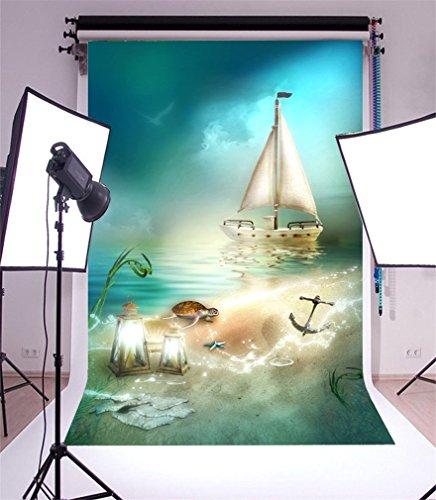 YongFoto 2x3m Vinyl Foto Hintergrund Strand Strand Segelboot Schildkröte Seestern Laterne Anker Fantasie Fotografie Hintergrund für Fotoshooting Portraitfotos Party Hochzeit Requisiten