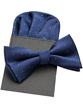 PenSee Pajarita y pañuelo a juego de seda para hombre, diseño de lunares, varios colores