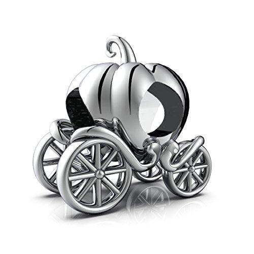 LSDesigns - Ciondolo, perlina con carrozza a forma di zucca, in argento sterling 925, confezione regalo inclusa