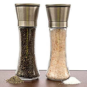 Salt and Pepper Mills Set of 2 Salt and Pepper Shakers Premium Brushed Stainless Steel 5 Grade Spice Grinder Pair Handheld Salt Mill Tall Glass Bottle Pepper Grinder Adjustable Salt Shaker by Fashionapple