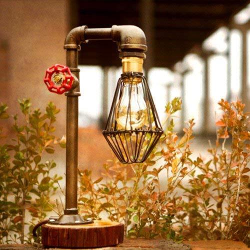 Preisvergleich Produktbild YLCJ Beleuchtung Loft Vintage Industrie Schmiedeeisen Tischlampen E27 Edison Wasserpfeife Tischlampen Rustikale Tischlampen Steampunk Akzent für Schlafzimmer