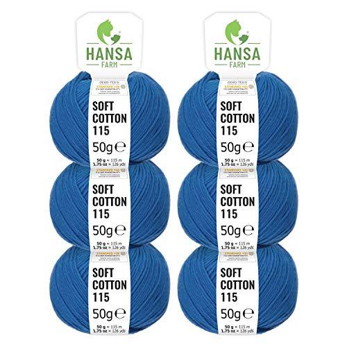 HANSA-FARM 100% Cotton Wool in 14 Colours - 300g Set (6 x 50g) - Oeko Tex Standard 100 certified wool for knitting and crochet blue