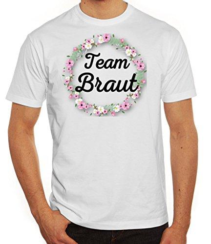 Team Papa T-shirt (Bride Security Junggesellinnenabschied JGA Herren Männer T-Shirt Rundhals Blumenkranz Team Braut, Größe: L,Weiß)