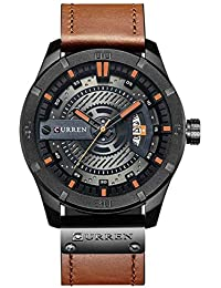 419df47829c0 Curren Business Casual Brown Leather Strap Black Dial Analog Watch with Date  Display for Men