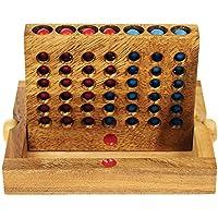 Forza quattro - tavola da gioco in legno - rompicapo - gioco da viaggio - gioco di destrezza