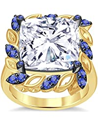 Silvernshine 6Ctw Cushion & Round Cut Tanzanite CZ Diamonds 14K Yellow Gold Plated Engagement Ring