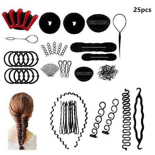 Voarge 25 PCS Haar Styling Design Zubehör styling Set, Haarstyling Zubehör Tools Kit Haar Styling Werkzeug, Hair Styling Tools mit Haar Clip, Hair Pins, Hair Styling Accessories