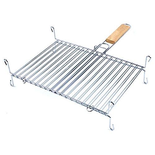 ruecab-1086-grille-de-barbecue-double-sur-pieds-inox-poignee-bois-argent-30-x-40-cm