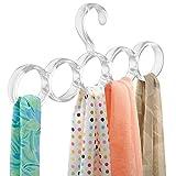 Porte-écharpe de placard sans accroc, mDesign, pour foulards, cravates, ceintures, châles, pashminas, accessoires - 5 boucles, Transparent