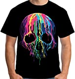 Velocitee Mens T-Shirt Colourful Melting Skull A19423