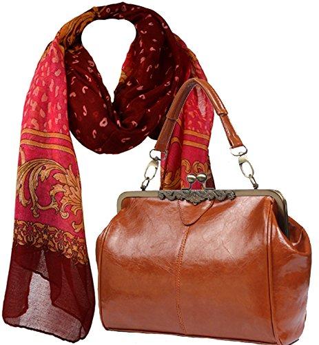 Umhängetasche im Vintage-Look mit Kisslock-Verschluss im Set mit paisley Design Schal (Handtasche Paisley Handbag)