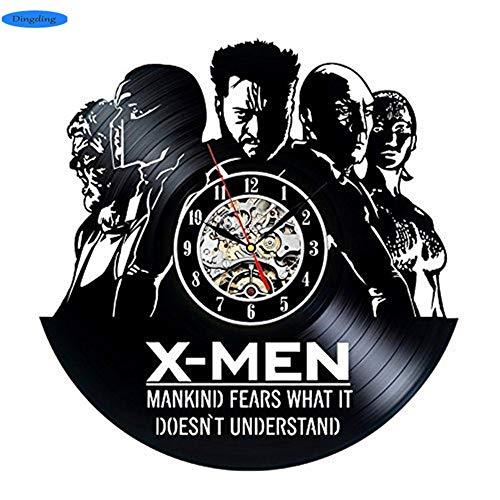 NIGHT BLACK X-Men Art Vinyl 3D handgefertigte Wanduhr schwarz CD Record Clock der Film Home Decor Wandaufkleber Quarz Home Watch, 1 Geschenk an Ihre Freunde und Familie für jeden Anlass -