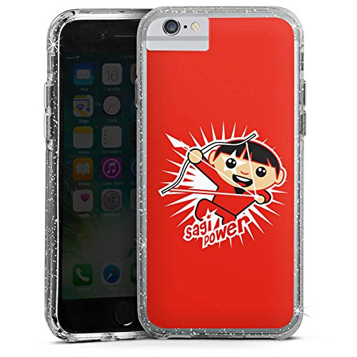 Apple iPhone 6s Plus Bumper Hülle Bumper Case Glitzer Hülle Sternzeichen Sterne Stars Bumper Case Glitzer silber