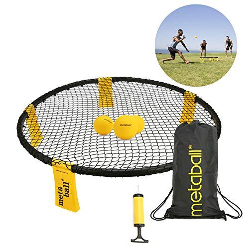 YOUMI Spikeball Mini Beach Volleyball Multiplayer Game Set, Grand Slam Ball Set Outdoor Bouncing Ball Includes 3 Balls, 1 Game Net, 1 Pump, Storage Bag.