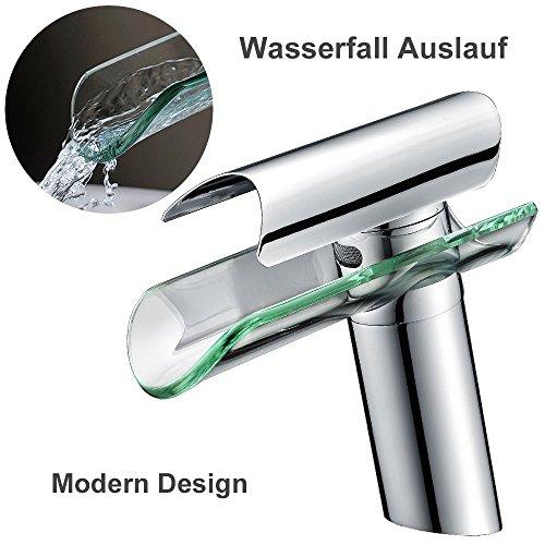Homelody Badarmatur mit Glasauslauf Wasserfall Wasserhahn Bad Armatur Mischbatterie Einhebelmischer Waschtischarmatur und Waschbeckenarmatur für Badezimmer -