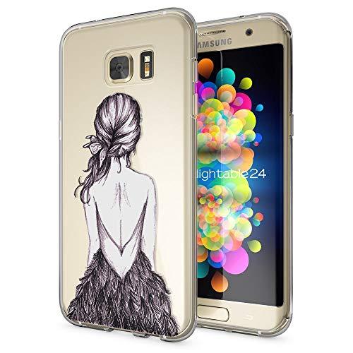 galaxy s 7 edge huelle NALIA Handyhülle für Samsung Galaxy S7 Edge, Slim Silikon Motiv Case Hülle Cover Crystal Schutzhülle Dünn Durchsichtig, Etui Handy-Tasche Backcover Transparent Bumper, Designs:Bird Princess