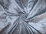 100% Pure Seide Dupionseide Stoff grau x Schwarz 137,2cm