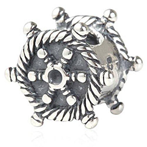 Soulbead nave a forma di volante, in argento sterling 925, per gioielli braccialetto stile europeo